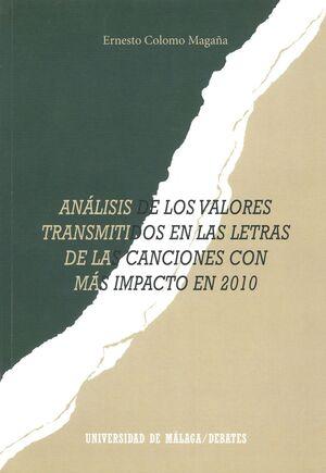 ANÁLISIS DE LOS VALORES TRANSMITIDOS EN LAS LETRAS DE LAS CANCIONES CON MÁS IMPACTO EN 2010