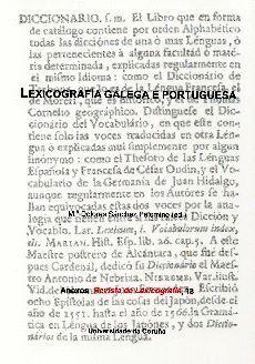 LEXICOGRAFÍA GALEGA E PORTUGUESA