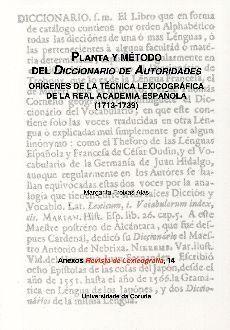 PLANTA Y MÉTODO DEL DICCIONARIO DE AUTORIDADES