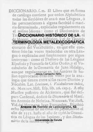 DICCIONARIO HISTÓRICO DE LA TERMINOLOGÍA METALEXICOGRÁFICA