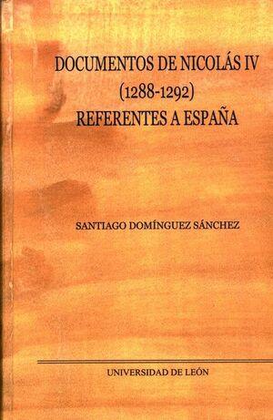DOCUMENTOS DE NICOLÁS IV (1288-1292) REFERENTES A ESPAÑA