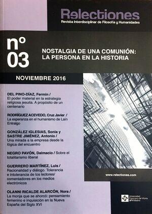 RELECTIONES Nº 3 (NOVIEMBRE 2016). REVISTA INTERDISCIPLINAR DE FILOSOFÍA Y HUMANIDADES