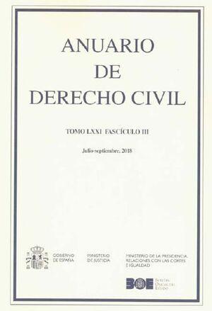 ANUARIO DE DERECHO CIVIL, 2018